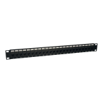 24-Port Cat6 Cat5 Patch Panel Feed Through Rackmount 568A/B RJ45 1URM TAA - Patch panel - wall mountable - black - 1U - 19 inch - 24 ports