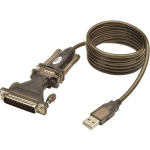 Lite USB to RS232 Serial Adapter Cable USB-A to DB25 DB9 M/M 5 feet 5ft - for Tablet PC Phone Camera Modem Notebook - 5 ft - 1 x Type A Male USB - 1 x DB-9 Male Serial - Gold-plated Contacts - Shielding - Black