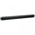 24-Port Cat5e Cat5 Feedthrough Patch Panel Rackmount 1URM RJ45 Ethernet TAA - Patch panel - 24 ports