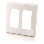 Two Decorative Style Cutout Double Gang Wall Plate - White - Mounting plate - white